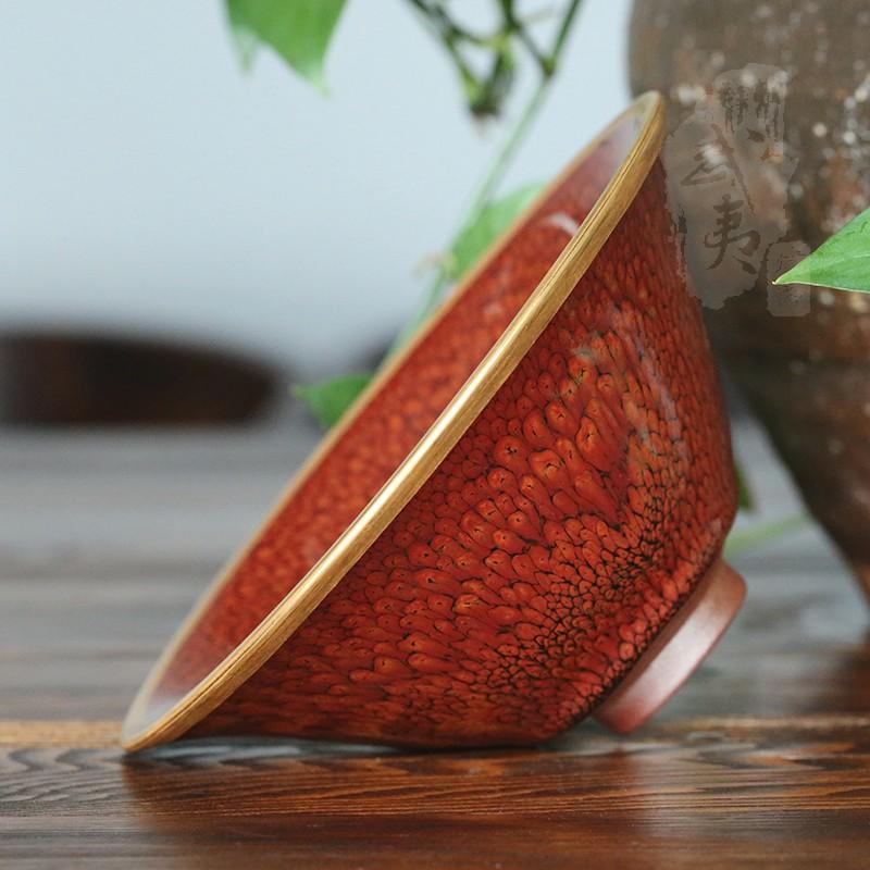 建盏大师陈其富,柿红鹧鸪金扣大喇叭碗