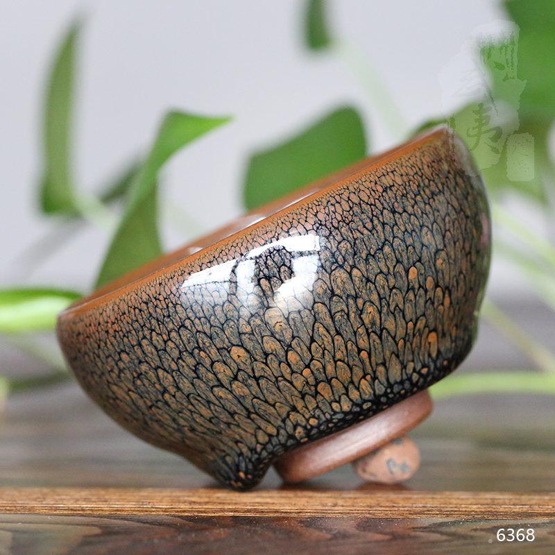 建盏大师陈其富,敛口黄鹧鸪圆小茶盏