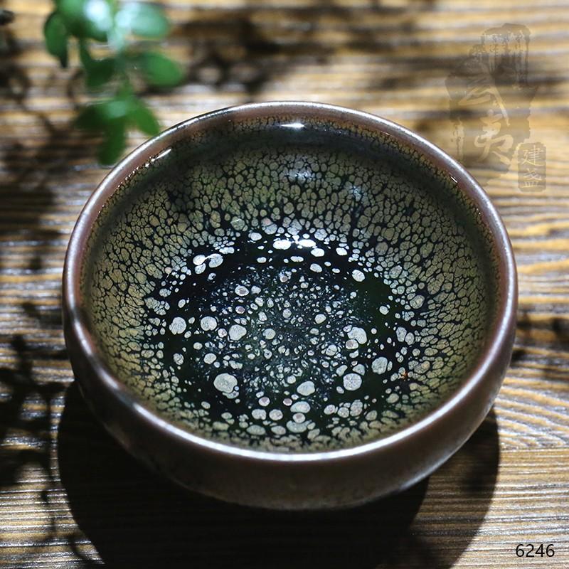 建盏大师陈其富,银色油滴小茶盏