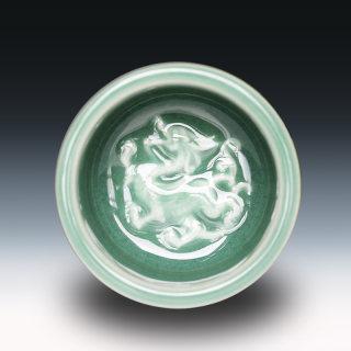 建盏大师黄美金,青瓷龙纹竹节杯