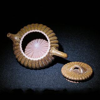柴烧紫砂大师邱法敏,菱花石瓢壶