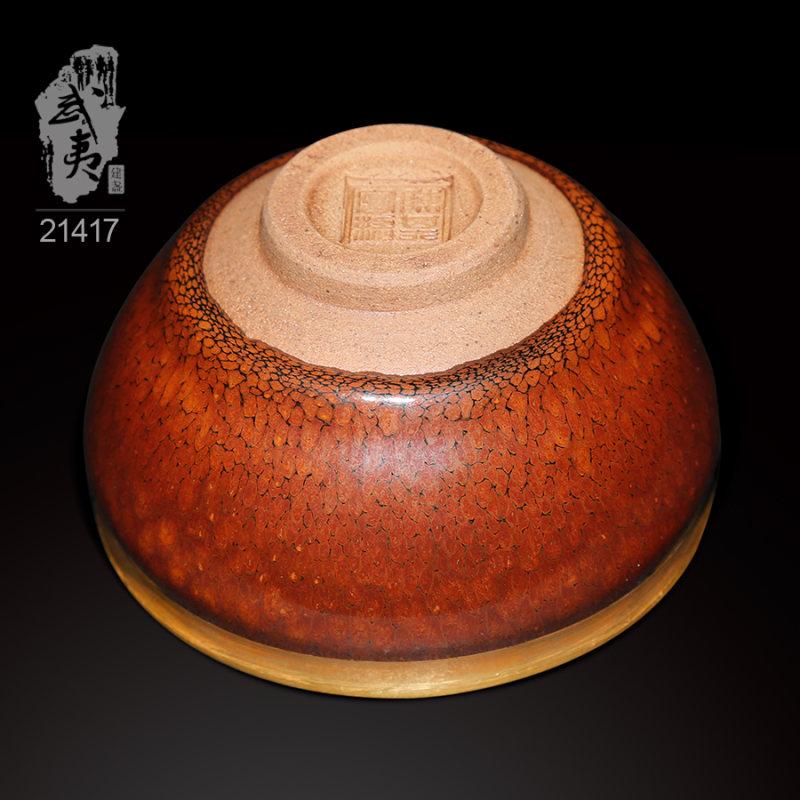 建盏大师陈其富,金扣柿红鹧鸪斑小茶盏