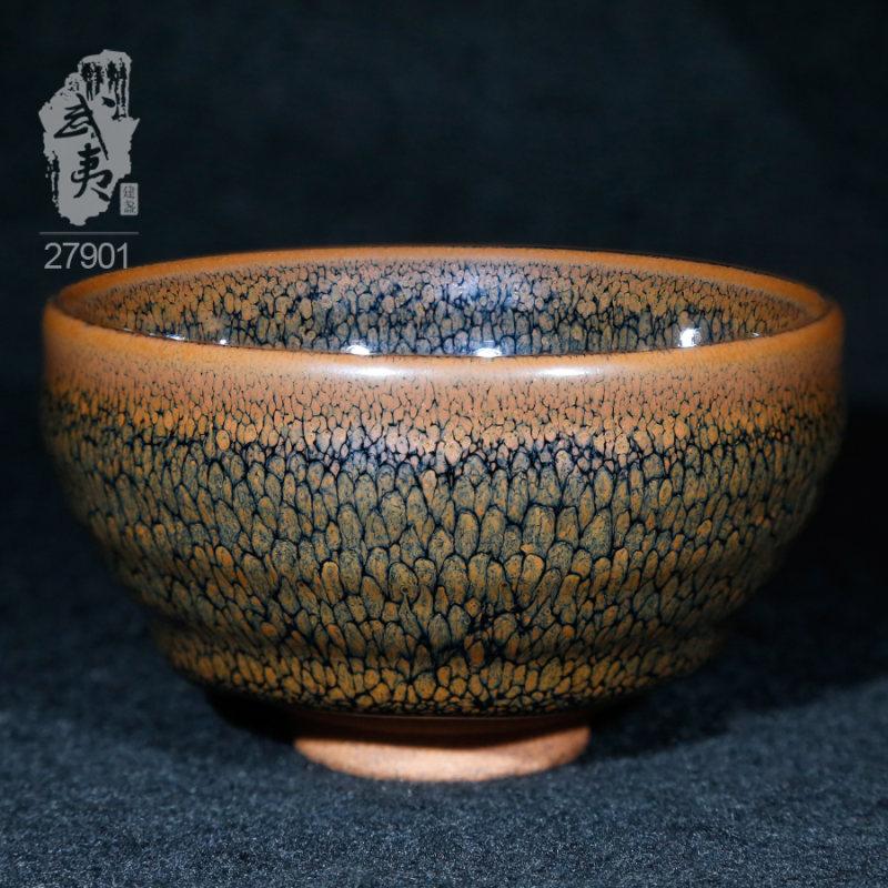 建盏大师陈其富,褐色鹧鸪斑小茶盏