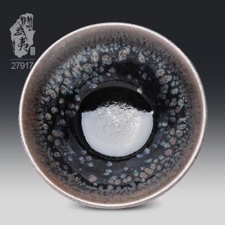 建盏大师李达,束口鹧鸪斑茶盏