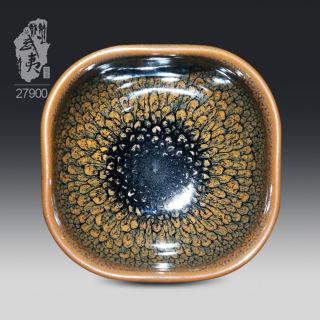 建盏大师陈其富,褐色鹧鸪斑四方杯