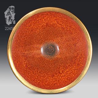 建盏大师陈其富,金扣柿红鹧鸪斑喇叭碗